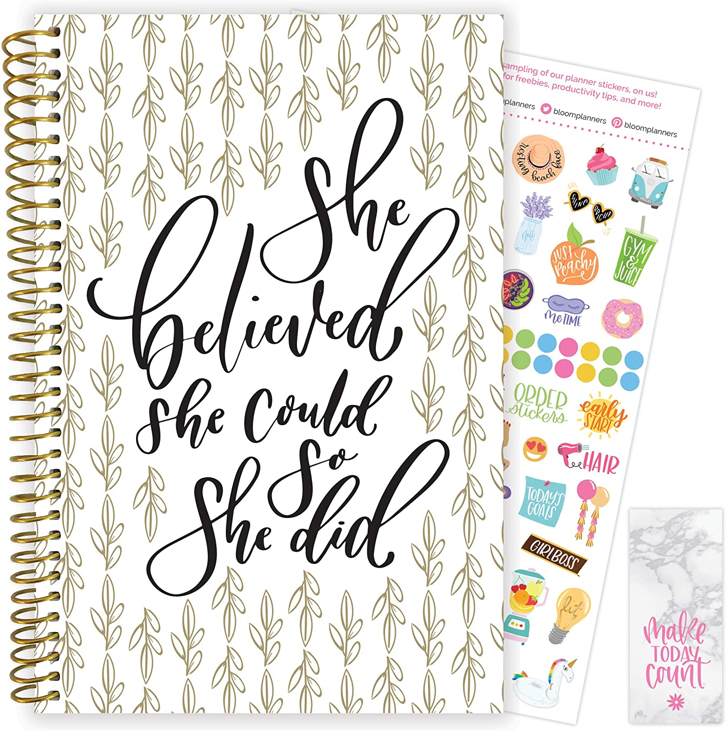 "bloom daily planners 2020-2021 Academic Year Day Planner & Calendar (July 2020 - July 2021) - 6"" x 8.25"" - Weekly/Monthly Agenda Organizer with Stickers and Bookmark - Writefully His"