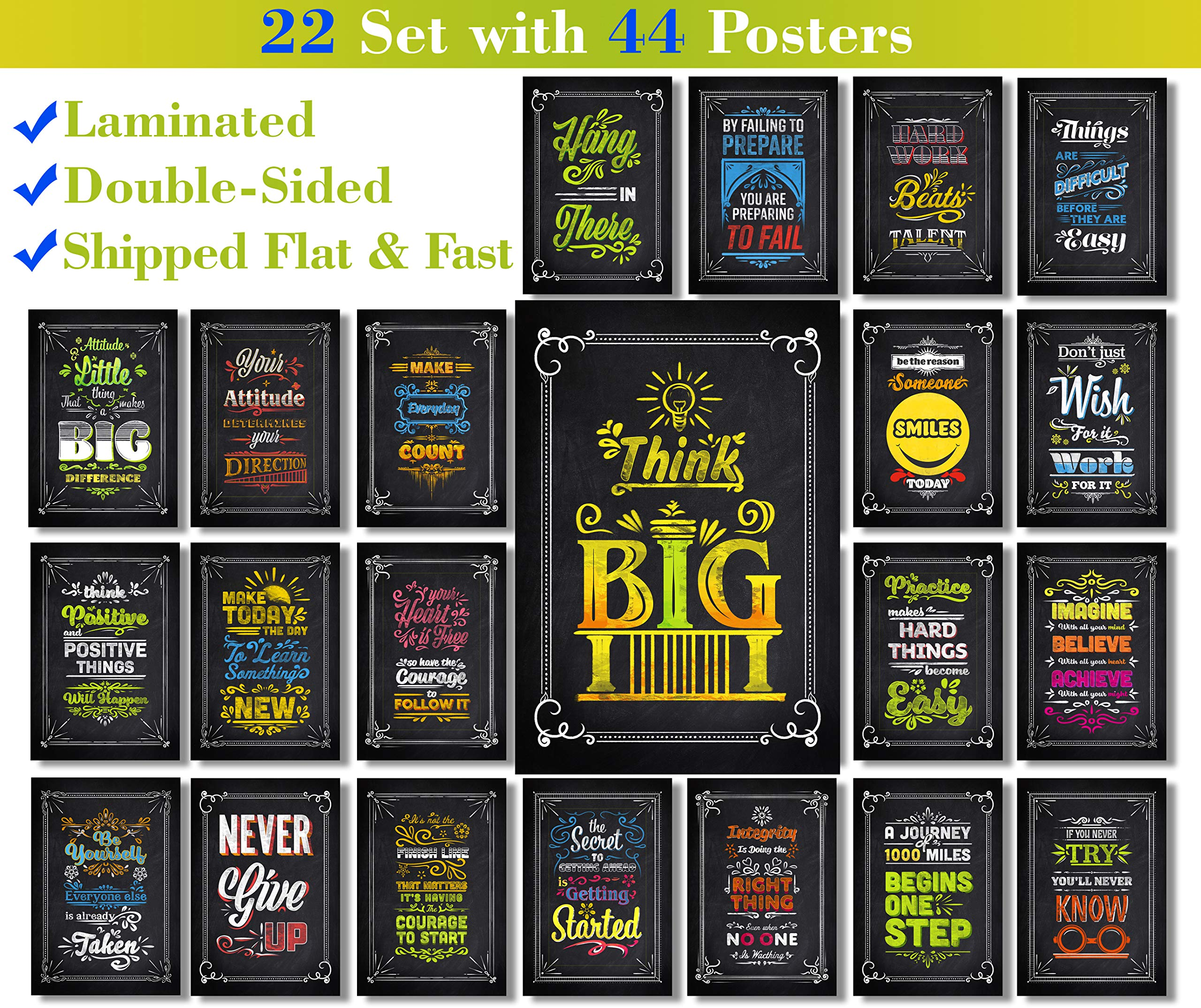 22 Set | 44 Posters | We Ship Flat | Laminated | Motivational and Inspirational Posters with Quotes for The Classroom, Home Wall Art, Office Decorations (Color and Black & White - Double-Sided)