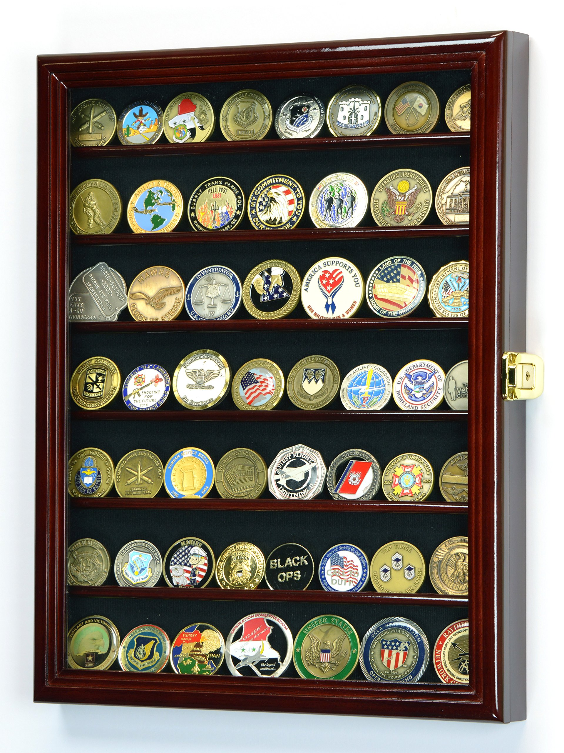 Military Challenge Coin Display Case Cabinet Holder Wall Rack 98% UV Lockable, Cherry