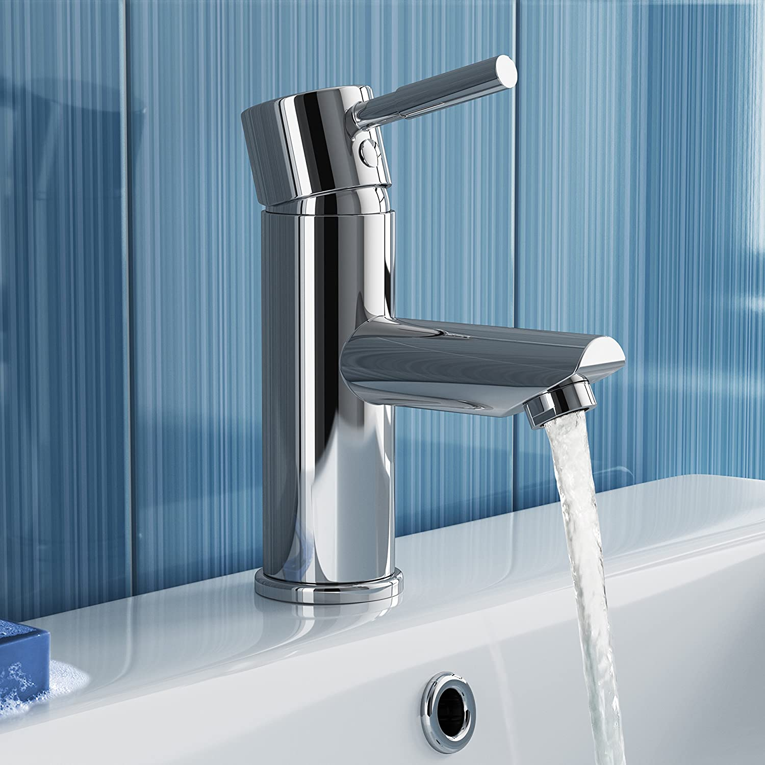 iBathUK Chrome Basin Sink Mixer Tap with Bath Filler Tap Set TP3015 ...