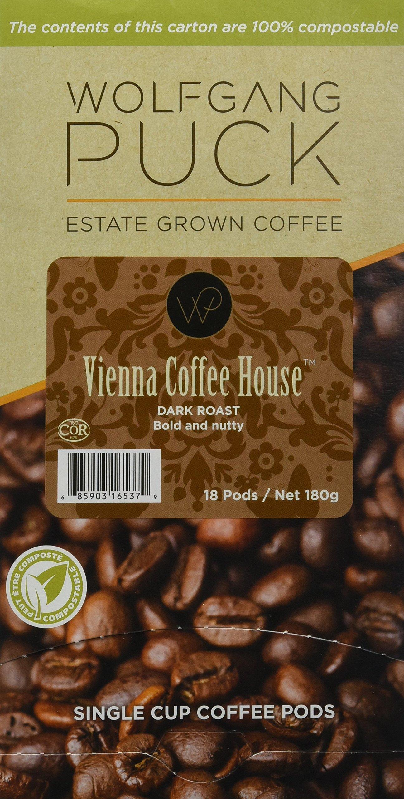 Wolfgang Puck Coffee, Vienna Coffee House Dark Roast, 9.5 Gram Pods, 18-Count (Pack of 3)