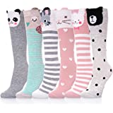 LANLEO Girls Socks 6 Pairs Cute Cartoon Animal Cotton Over Calf Knee High Socks for Kids Teens 3-12 Year Old