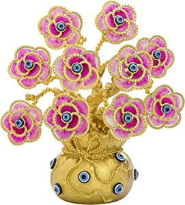 YU FENG Turkish Evil Eye Flowers Tree with Golden Lucky Bag Ornament Artificial Plant in Vase Decoration for Good Luck Wealth