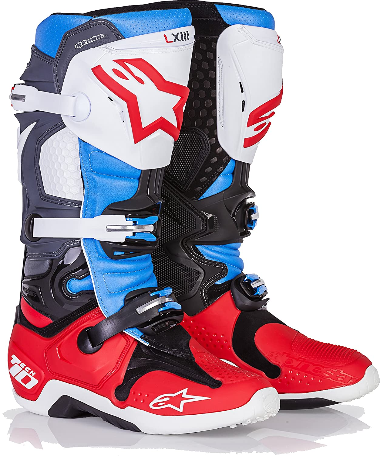 8 Alpinestars Tech 10 Limited Edition BOMBER Boots Red Aqua Anthracite White