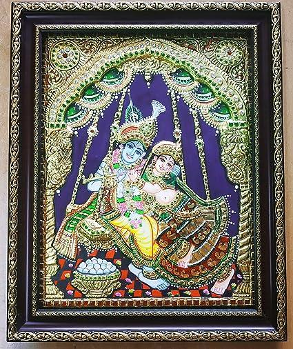 Kum Kum Gallery Swing Radha Krishna Tanjore Painting (Multicolor
