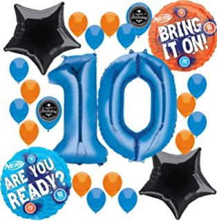 Combined Brands Nerf Party Supplies Birthday Balloon Decorations Bundle For 10th