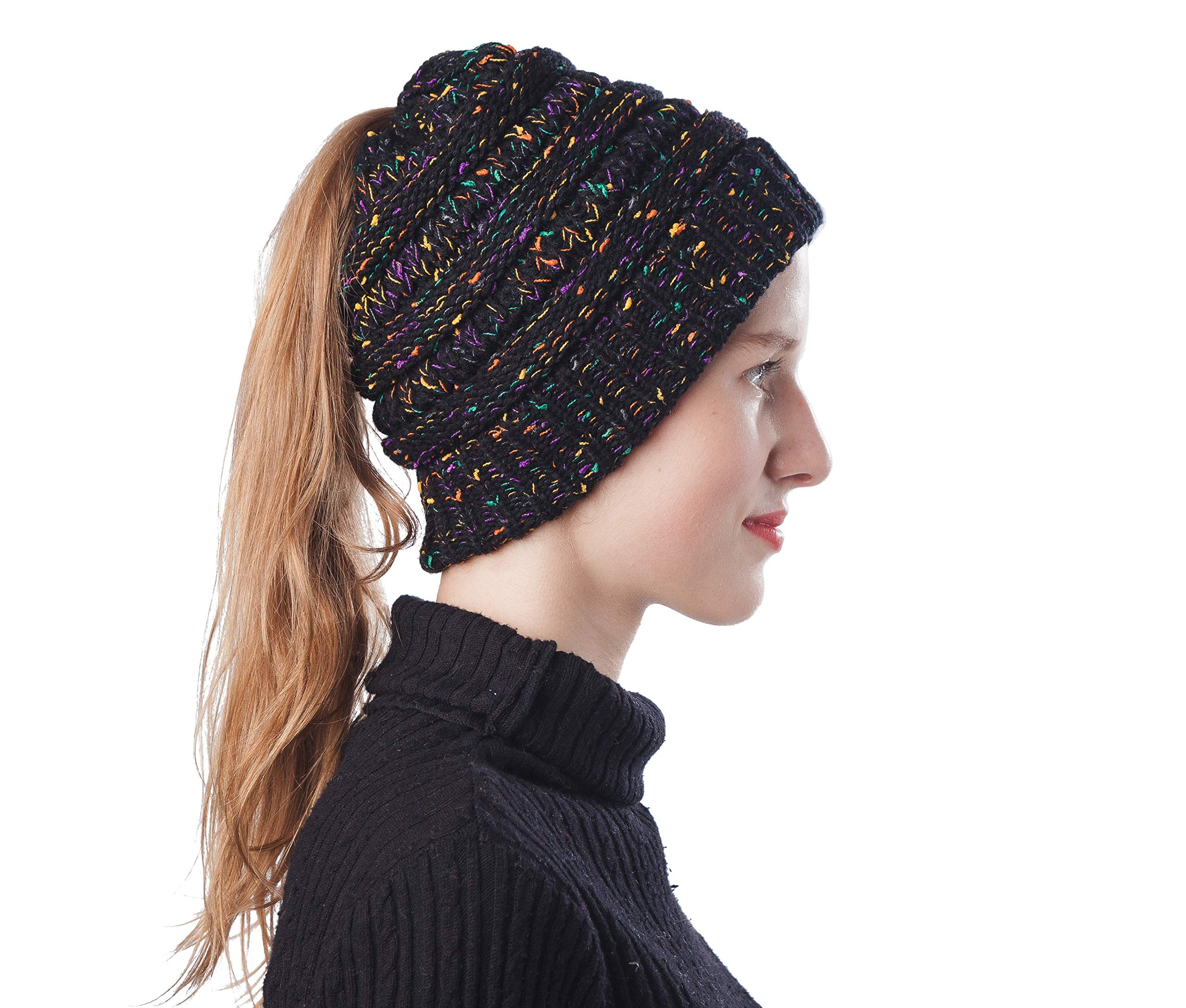 Soft Stretch Cable Knit High Bun Ponytail Winter Women Warm Beanie Hat Messy Beanie Cap (Confetti Black)