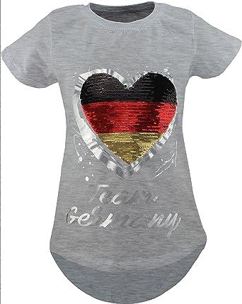 Camisa de Manga Corta con Lentejuelas Reversibles para niñas y Fans de Alemania, túnica: Amazon.es: Ropa y accesorios