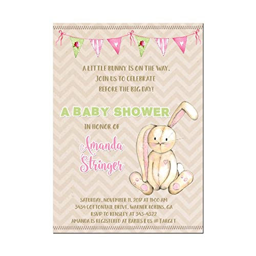 Amazon Com Bunny Rabbit Baby Shower Invitations In Pink Or Blue