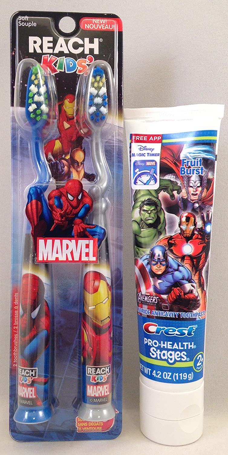 Marvel Reach Spiderman Soft Toothbrush 2 Pack & Marvel Avengers Crest Toothpaste (Bundle Pack 2 Items) Proctor & Gamble