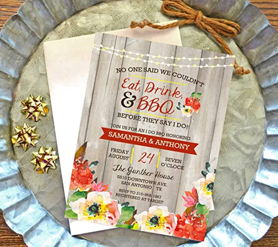 amazon com i do bbq invitations with envelopes wedding shower