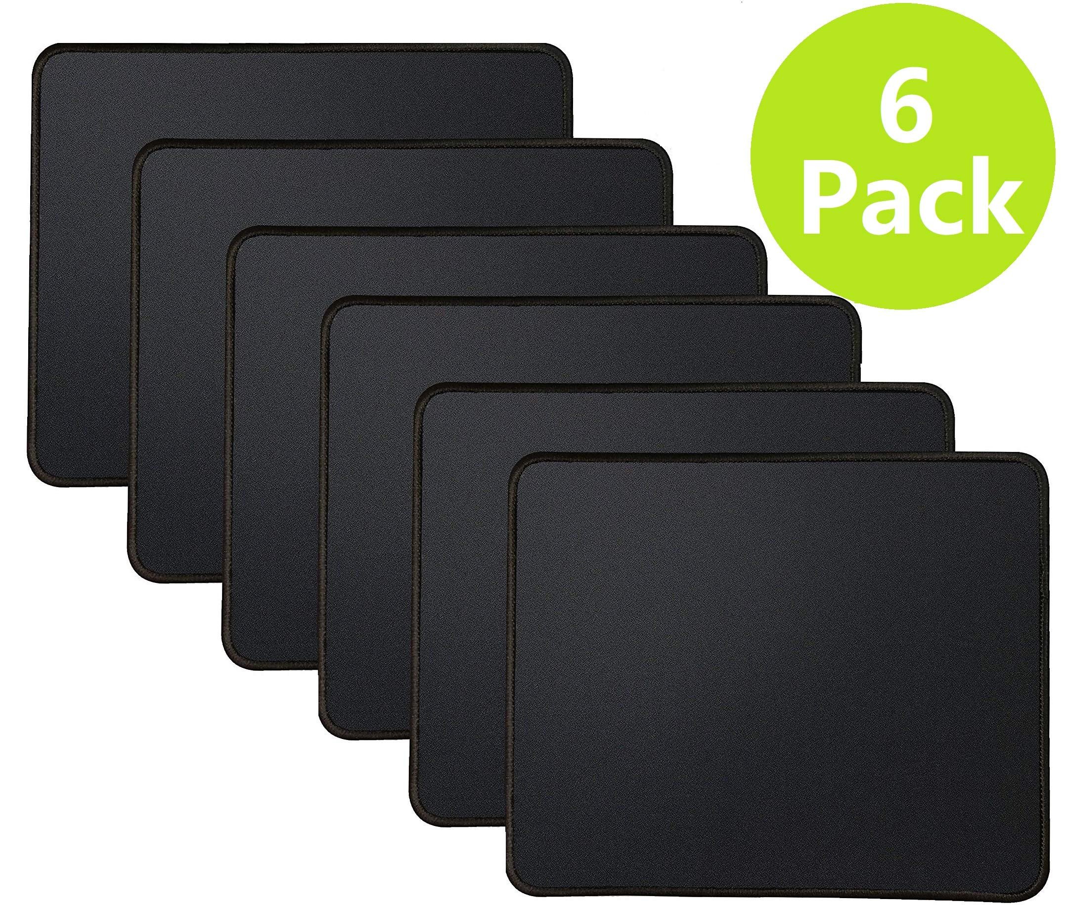 6 Mouse Pad Bundle Stitched Edges Premium Waterproof Gaming Mouse Mat Pad, Extends Battery Life Non-Slip Rubber Base Thick Black Mousepad for Laptop Computer & PC, 11 x 8.7 inch, Black Razer-Pack of 6 by TONOS