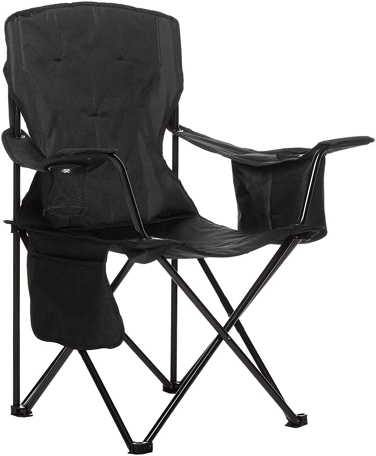 AmazonBasics Camping Chair with Cooler, Black Padded Renewed