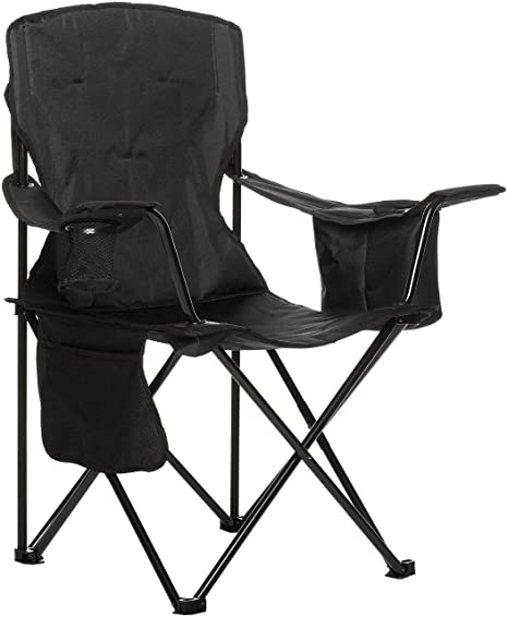AmazonBasics Camping Chair with Cooler, Black (Padded) (Renewed)