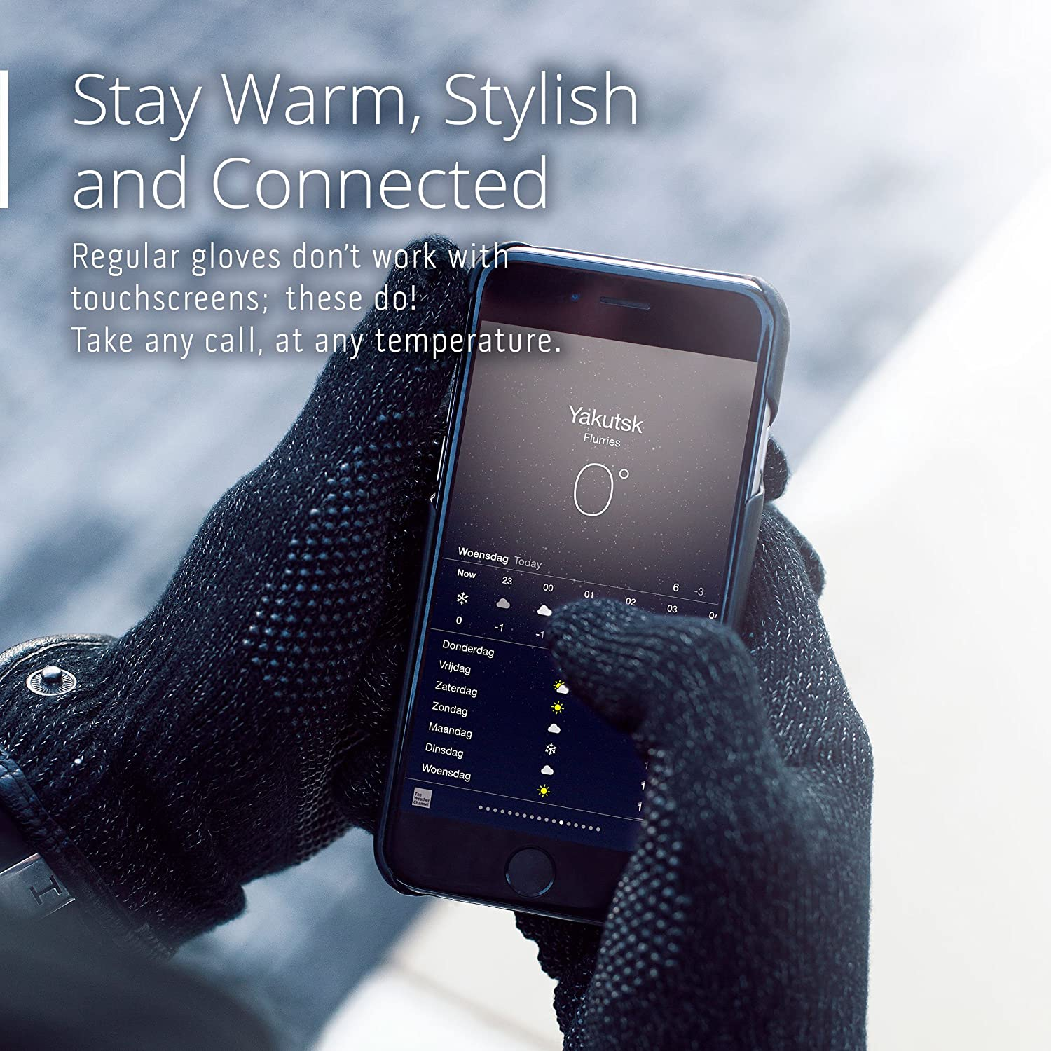 Mujjo Single or Double Layered Touchscreen Winter Gloves Anti-Slip Grip All-Hand /& Finger Smartphone Texting Magnetic Snap Closure Leather Cuffs