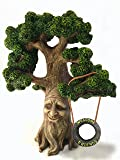 Fairy and Garden Gnome Tree - Enchanted Grandpa Miniature Tree with Removable Glow in the Dark Welcome Sign for Fairies and Lawn Gnomes
