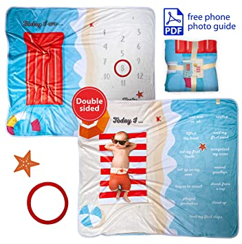 Amazon Com Baby Milestone Blanket Boy Or Girl Gift Box Option