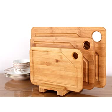 Premium Bamboo Cutting Board - 3 Set (Large, Medium and Small with the Holder)