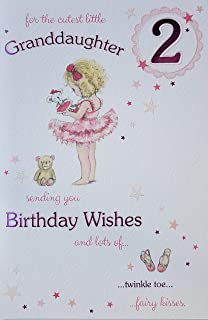 Cutest Granddaughter Age 2 Large Luxury 2nd Birthday Card