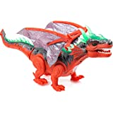 Toysery Walking Dinosaur Toy with Flashing And Sounds Dinosaur Toys For Kids, Battery Operated Triceratops Fiery Dragon