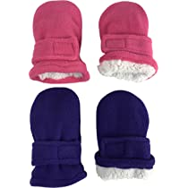 2 Pair Pack NIce Caps Little Kids and Baby Easy-On Sherpa Lined Fleece Mittens