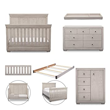 simmons kids ravello 6piece nursery furniture set convertible crib dresser chest
