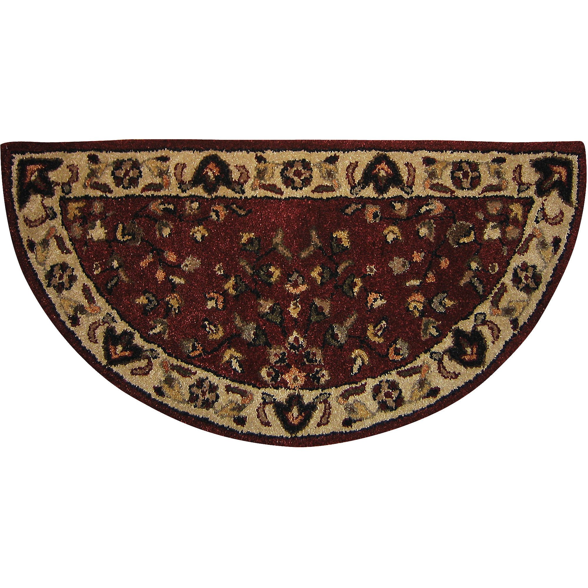 D.I.D. 1 Piece 44x22 Beige Red Floral Half Moon Hearth Rug, Classic Oriental Half Circle Shape Flooring Entrance Indoor Wood Burning Stove Mat Hand Tufted Rounded Edge, Wool