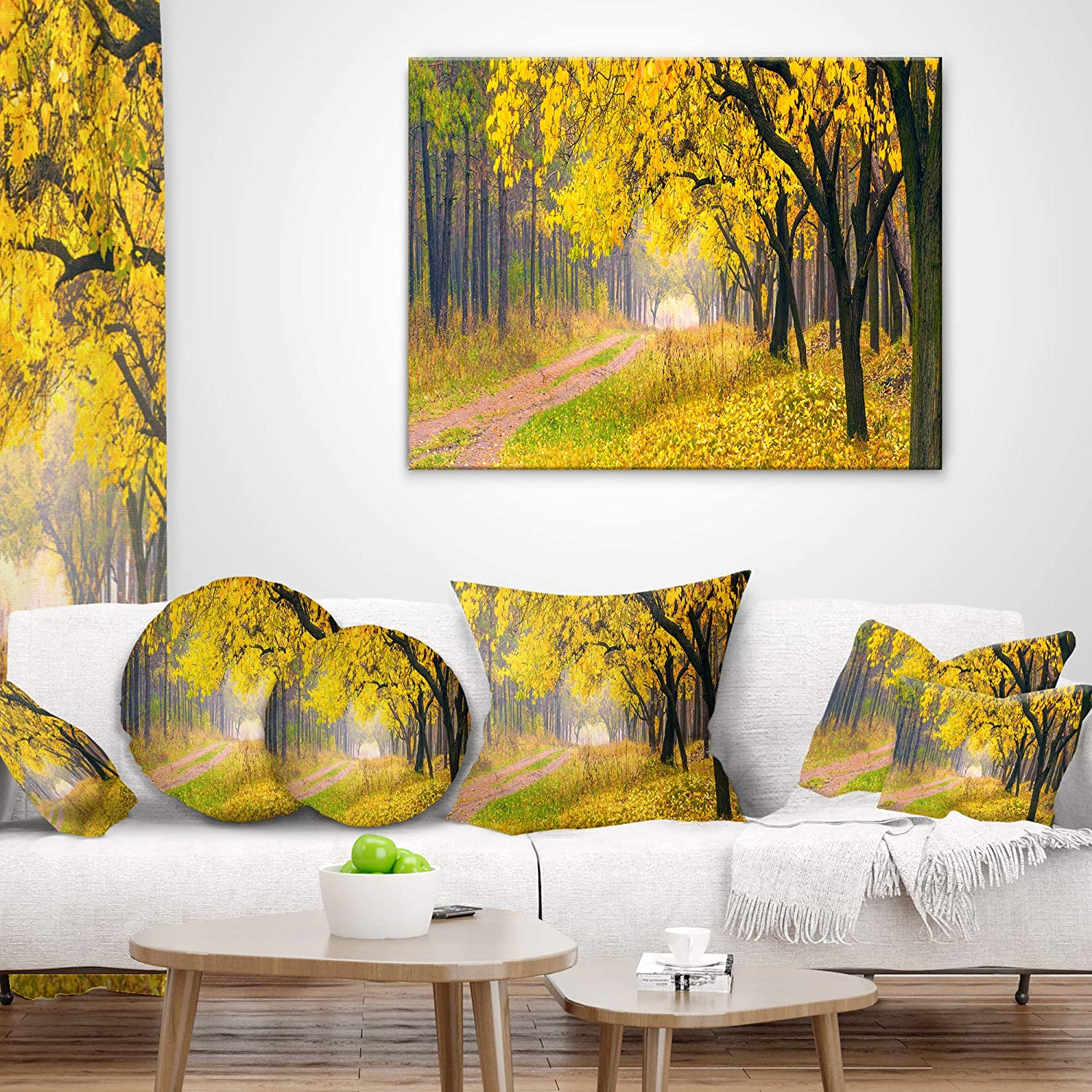 Sofa Throw Pillow 20 Designart CU9550-20-20-C Bright Yellow Autumn Forest Landscape Photo Round Cushion Cover for Living Room