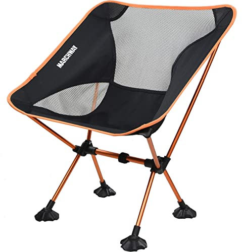 MARCHWAY Ultralight Folding Camping Chair with Anti-Sinking Wide Feet, Portable Compact for Outdoor Camp, Beach, Travel, Picnic, Hiking, Lightweight Backpacking