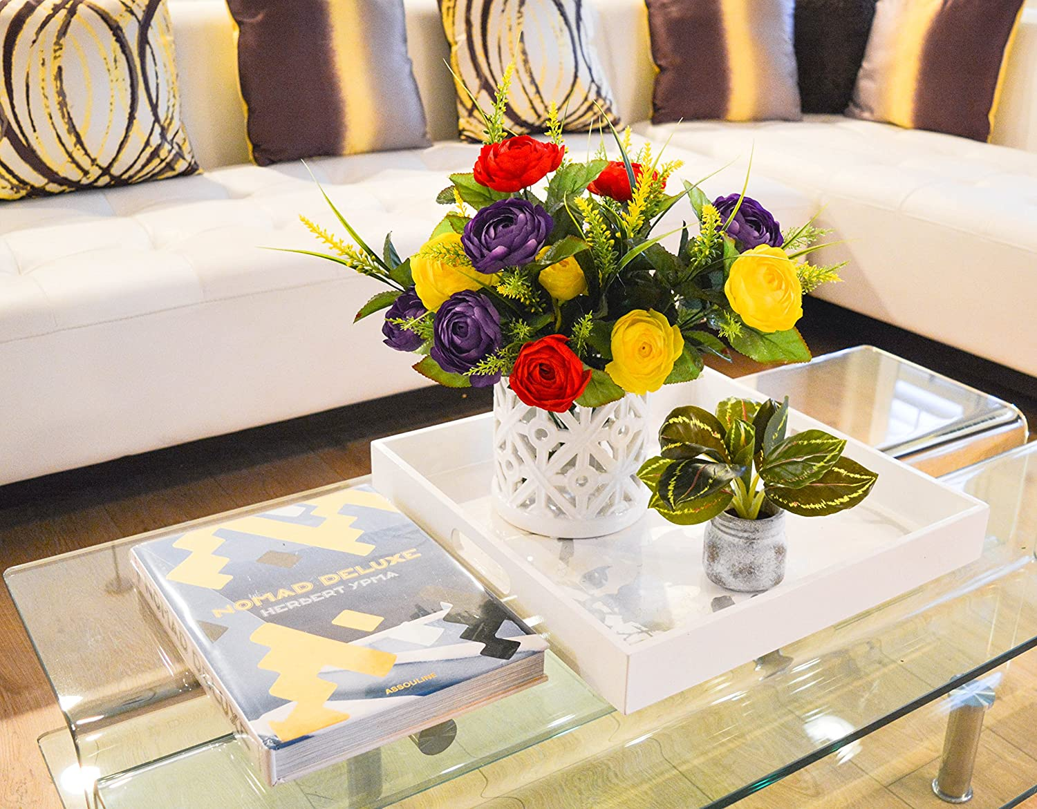 Restaurant Admired By Nature 22 Stems Artificial Ranunculus /& Fillers Mixed Flowers Bush for Home office Wedding Decoration Red//Yellow//Purple