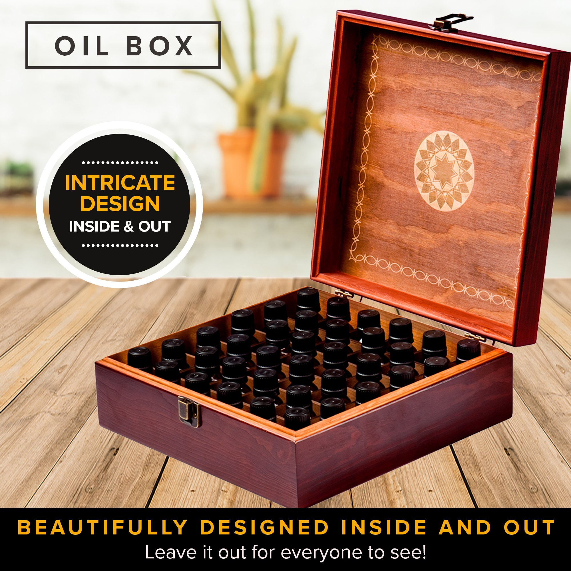Beautiful Essential Oil Storage Box Organizer - Holds 36 Bottles 5-10-15-30ML & 1oz Or 72 Roller Bottles - Free Roller Bottle Opener & 192 EO Labels - Wooden Oil Case Holder by MP (Image #7)