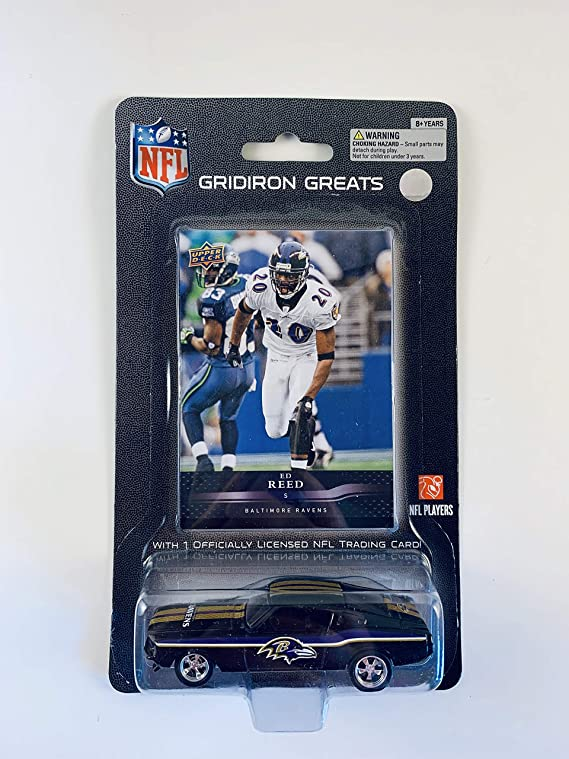 2008 UPPER DECK NFL Players REPLICA DIE CAST Car with Card 1:64 Scale Ford Mustang - Ed Reed BALTIMORE RAVENS