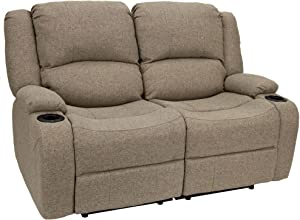 "RecPro Charles 58"" Powered Double RV Wall Hugger Recliner Sofa 
