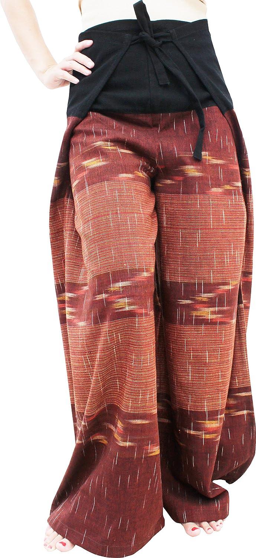 Chomtong Cotton  Bole Brown RaanPahMuang Wide Leg Wrap Waist Tied Casual Toraijin Pants in Cottons