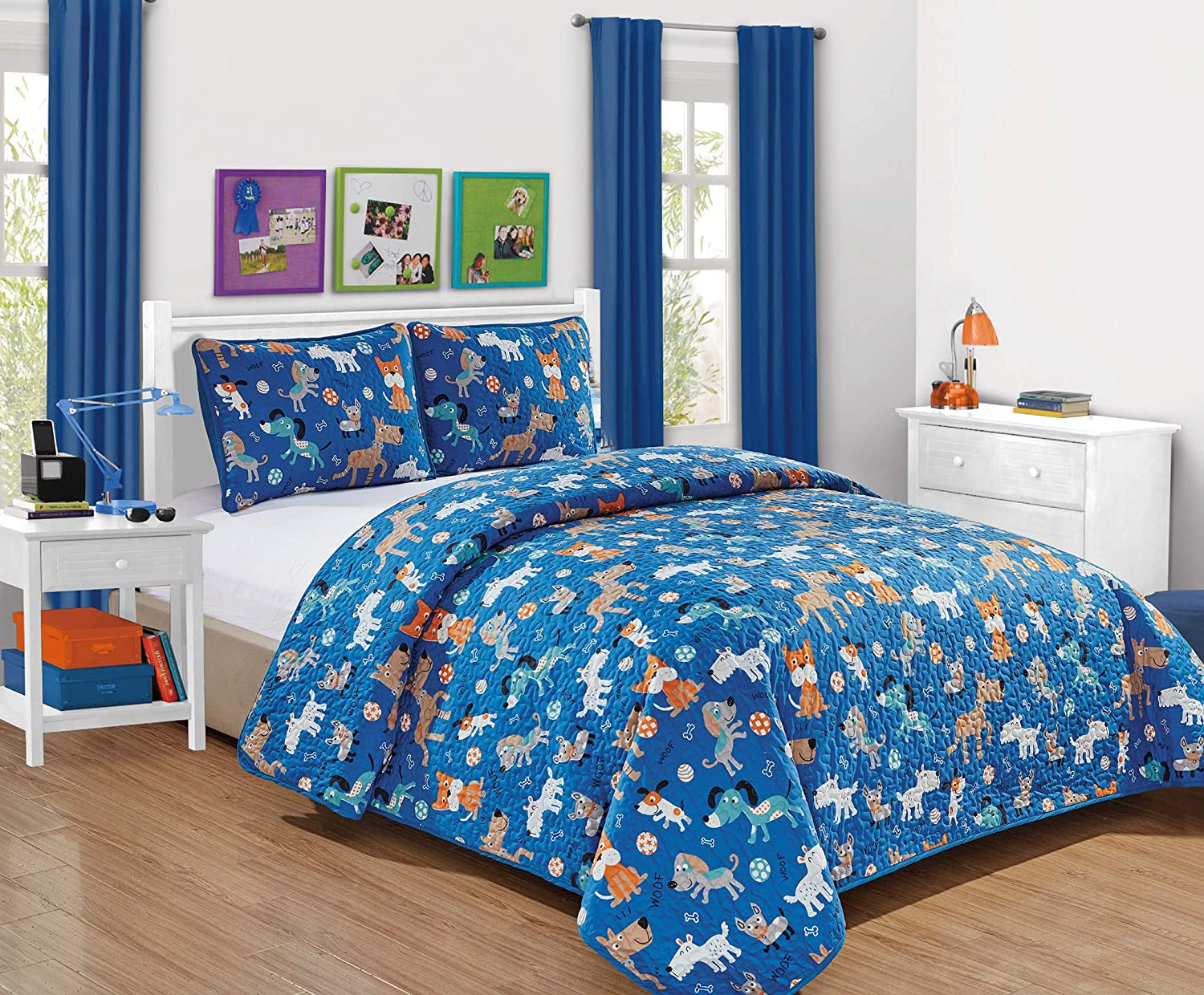 Better Home Style Blue Playing Puppy with Woof Woof Wagging Dogs Pups and Puppies Kids Toddler 3 Piece Coverlet Bedspread Quilt Set with Pillowcases (Blue Dog, Full/Queen)