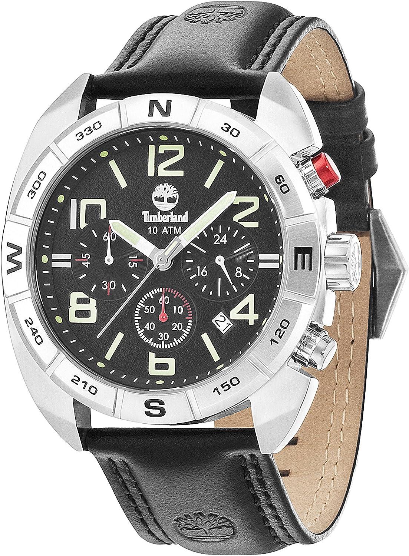 Timberland Oakwell–Reloj de cuarzo para hombre con esfera analógica y negro correa de piel negro 13670JS/02