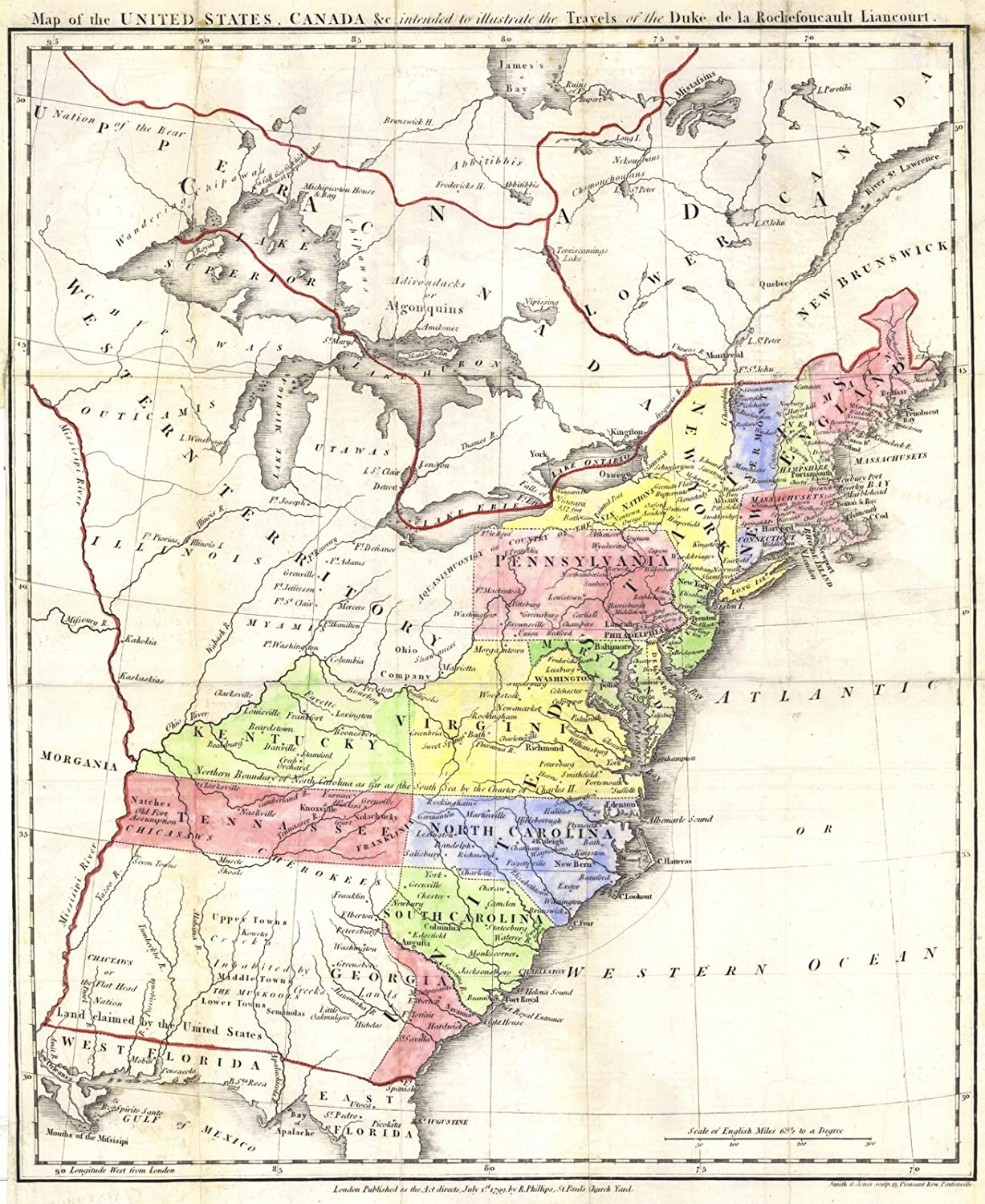 Amazon.com: Vintage Map - 1799 Map of the United States ...
