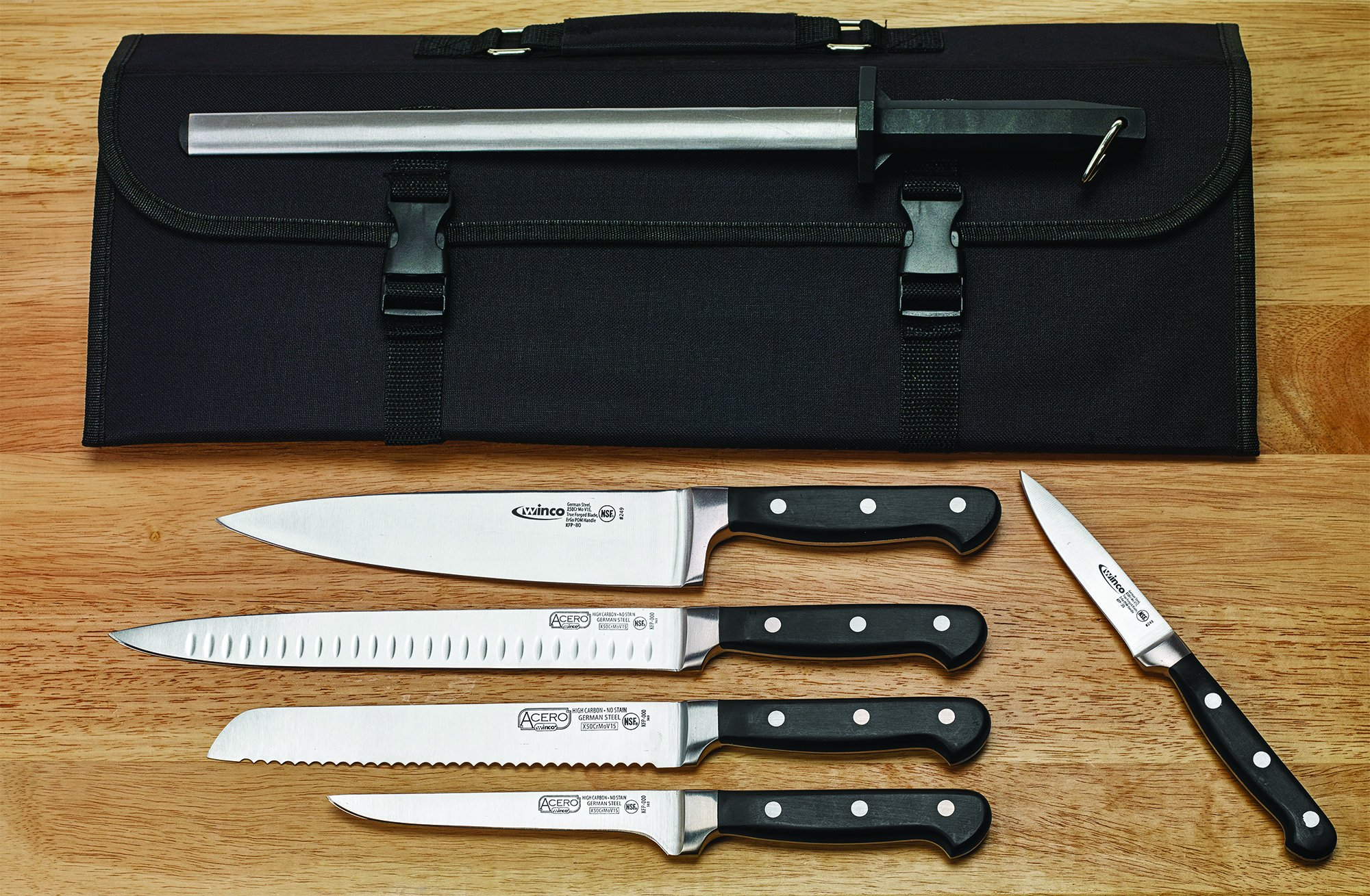 Winco KFP-KITA, 7-Piece Cutlery Set, Knife Kit with Sharpening Steel & Compartment Knife Bag