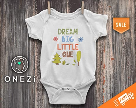 9df18db3743d Amazon.com  Dream Big Little One Onesie Cute Forest Baby Onesie ...