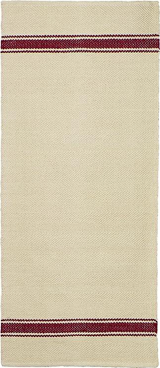 Jute & Co Panama Alfombra Tejido A Mano, 100% algodón, Beige/Rojo, 90 x 60 x 0.5 cm: Amazon.es: Hogar