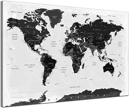 Weltkarte Kork Pinnwand Städte Länder
