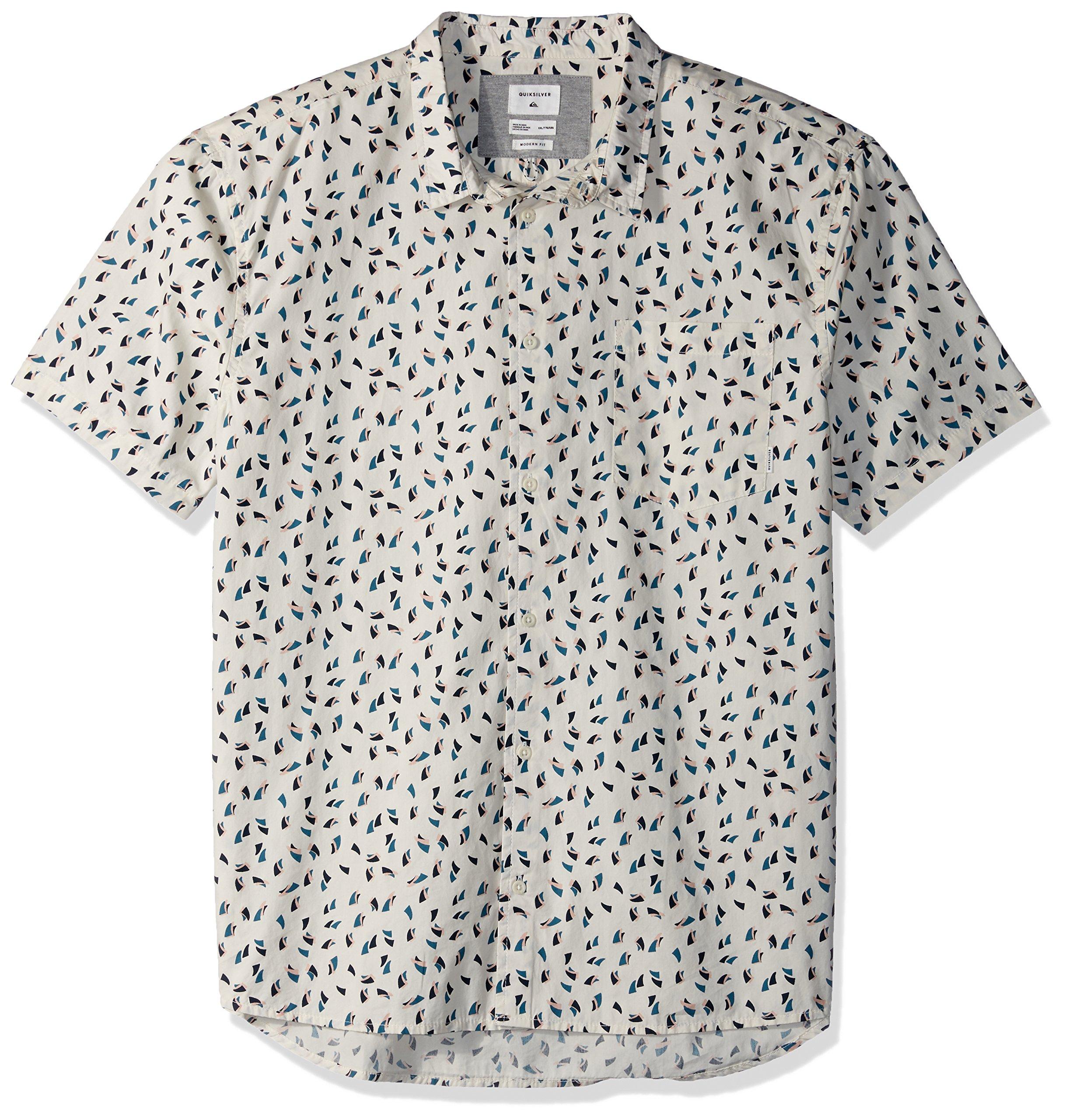 Quiksilver Men's Akan Waters Button Down Shirt, Birch Mechanical Ditsy, L