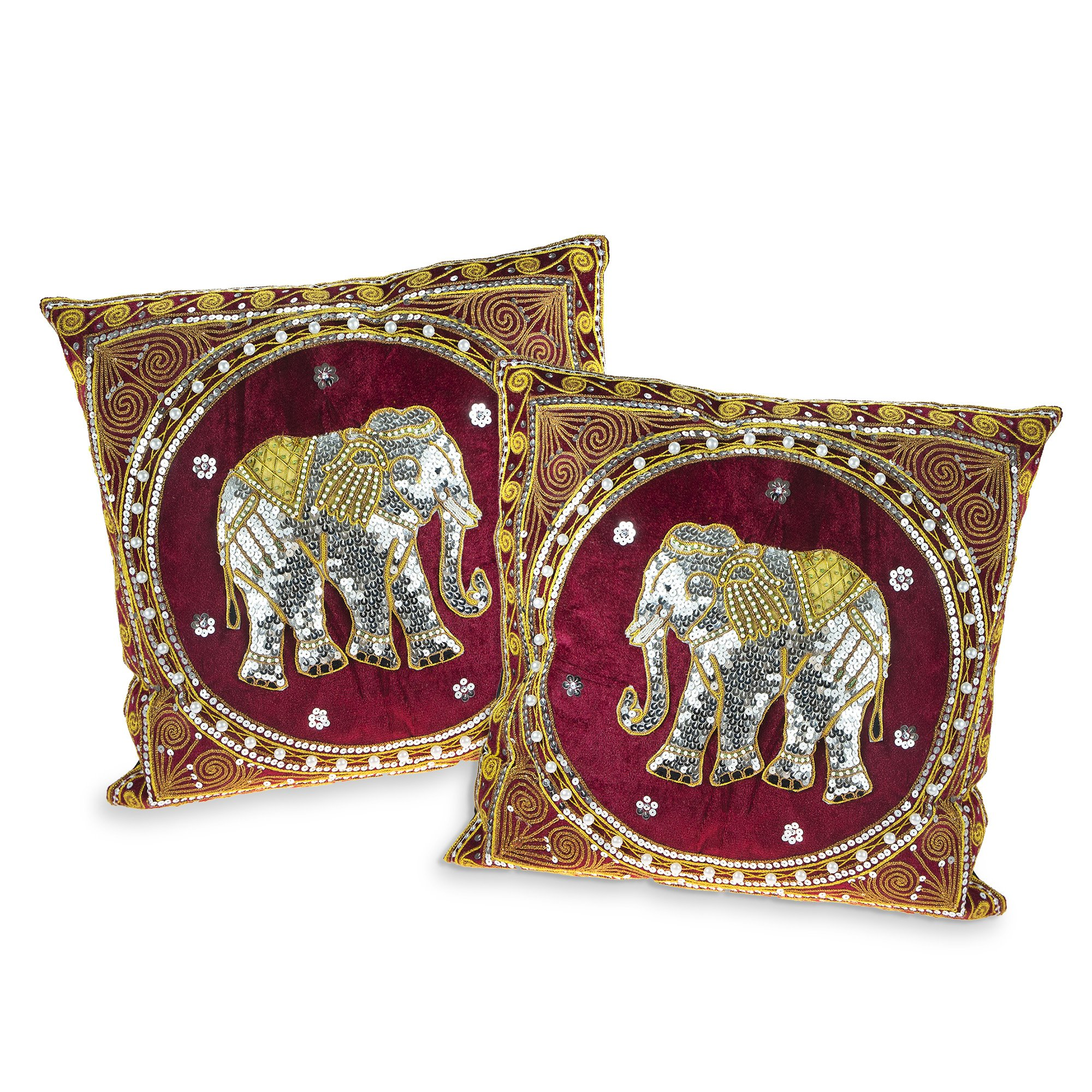 Thai Elephant Embroidered Velvet Throw Pillow Cases set of 2 Red by AeraVida