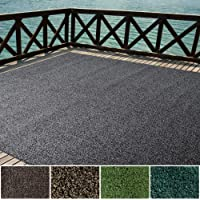 iCustomRug Indoor/Outdoor Turf Rugs and Runners in Black and Grey 12'X10' Low Pile Artificial Grass with Bound Pre…