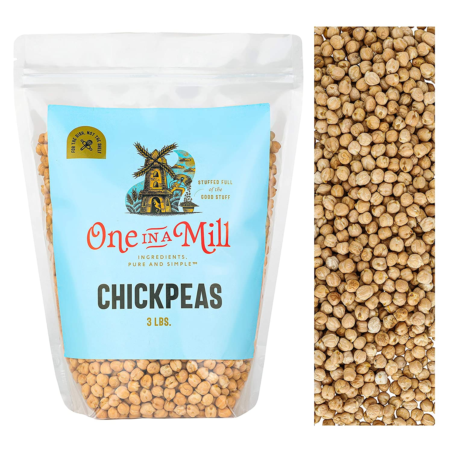 One in a Mill Whole Raw Chickpeas 3lb Bulk Resealable Bag | All-Natural Garbanzo Beans for Hummus, Salads, Stews | Non-GMO, Vegan, Certified Kosher Parve, Whole30 Friendly