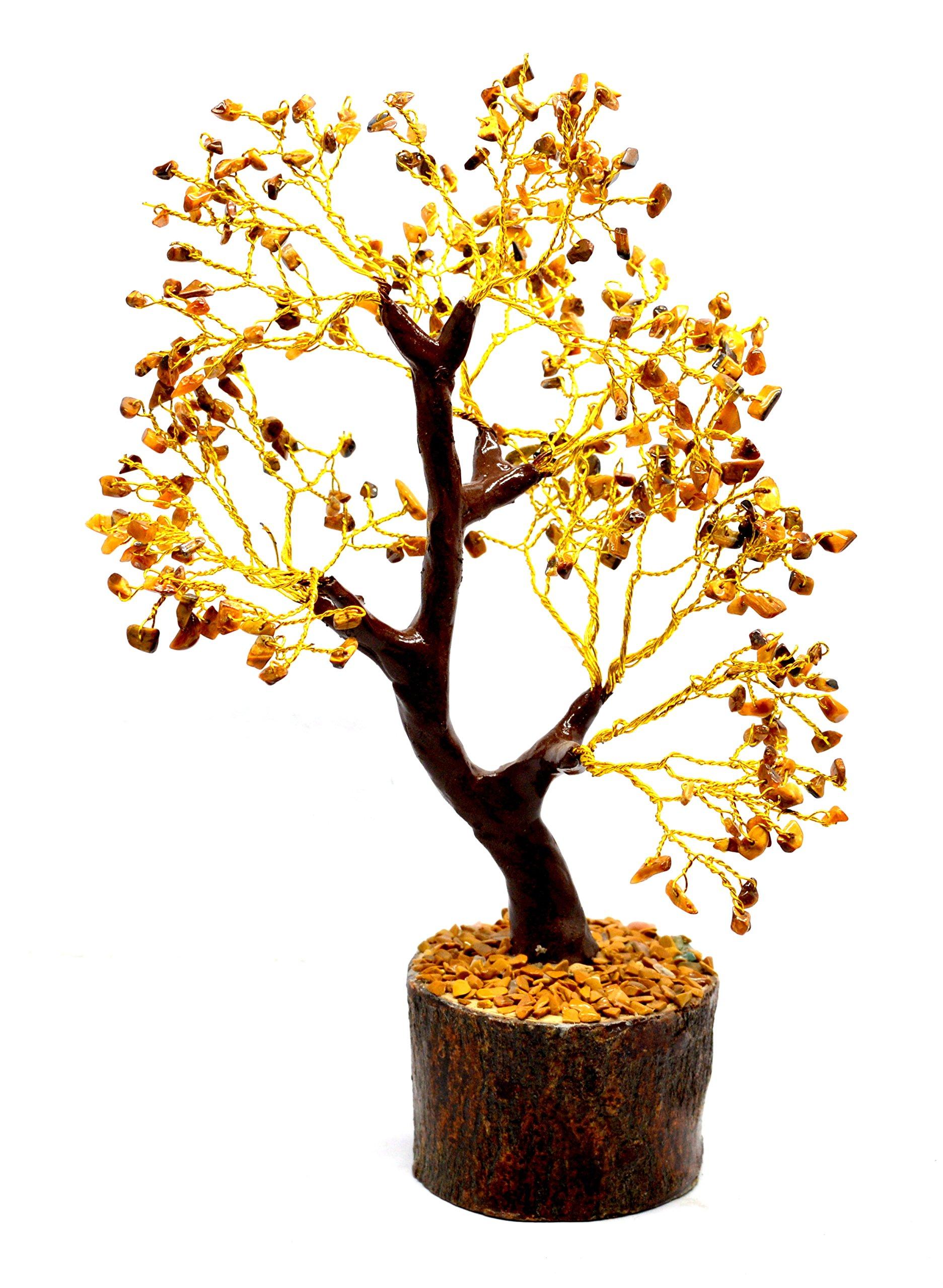 Natural Gemstone Reiki Healing Feng Shui Gem Tree Home Vastu Table Decor Rough Stone Raw Beads Wellness Happiness Gift (Tiger Eye - Wood)