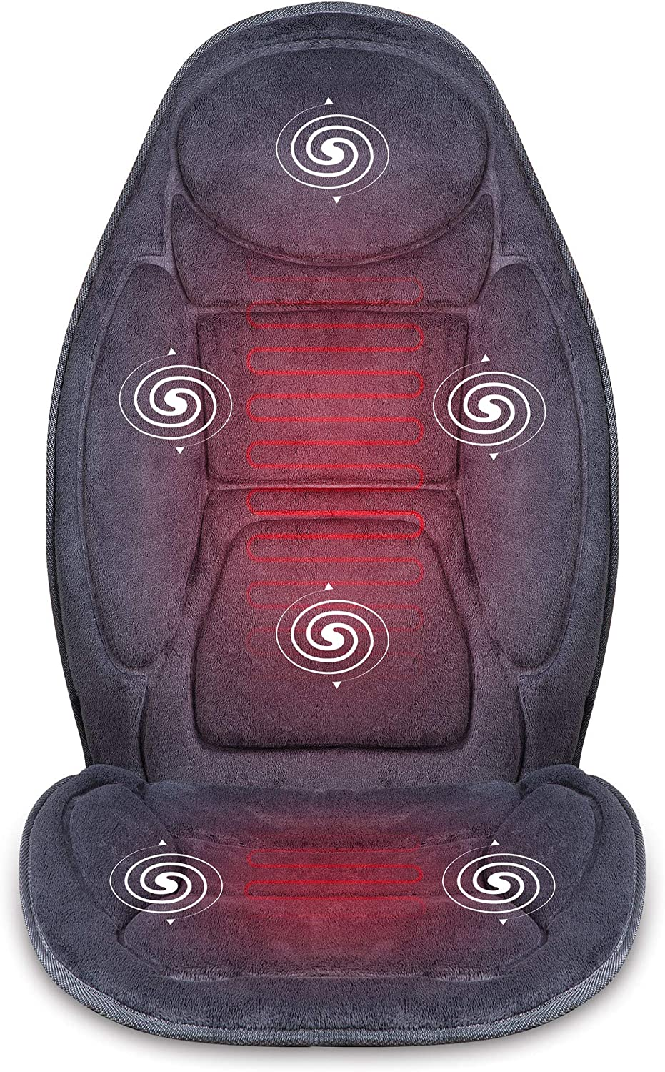 SNAILAX Vibration Massage Seat Cushion with Heat 6 Vibrating Motors and 3 Therapy Heating Pad, Back Massager, Massage Chair Pad for Home Office Car use