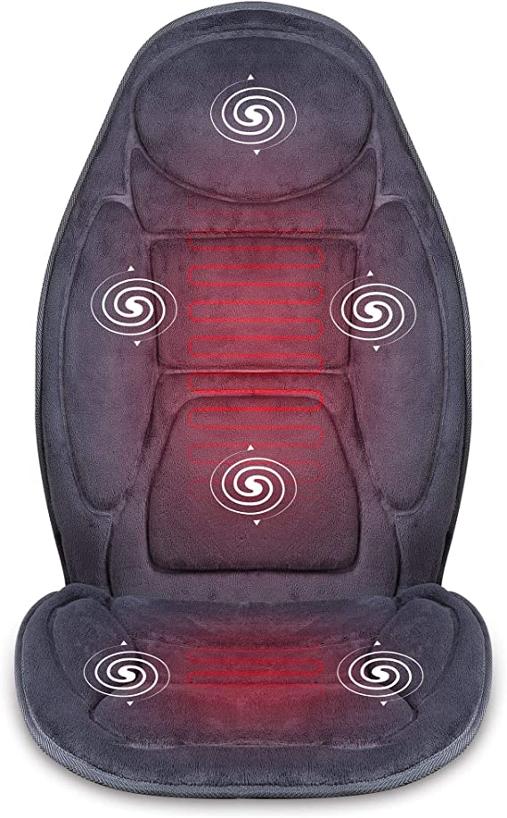 SNAILAX Vibration Massage Seat Cushion with Heat 6 Vibrating Motors and 3 Therapy Heating Pad