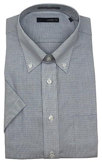 "9abe7fe76 Ultra Poplin Button Down Collar Short Sleeve Mini Check Dress Shirt (Light  Blue, 16.5"""
