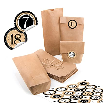24 pequeñas bolsas de papel natural marrón papel kraft 10,7 ...